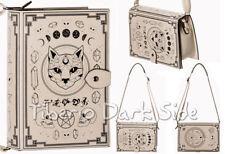 Banned Spellbinder Cat Book Off White Faux Leather Nu Goth Shoulder Bag Handbag