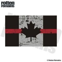 Tattered Thin Red Line Canada Subdued Flag Decal Sticker Firefighter EMV
