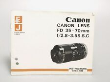 Canon Lens FD 35-70mm f/2.8-3.5S.S.C Instructions