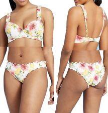 Womens Lightly Lined Ruffle Strap Top & Cheeky Bottom Bikini Set - Shade & Shore