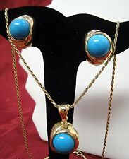 18K YELLOW GOLD CABOCHON TURQUOISE EARRINGS AND PENDANT NECKLACE SET ITALY!