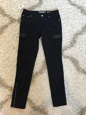 NEW NWT Miss Me Women's Black Bling Rhinestones Cargo Pants Size 27 CP1246B