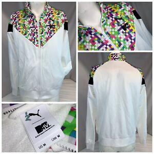 Puma MCS Track '87 M-TV Track Jacket M Men White Multi Color Full Zip YGI I0-468