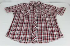Rustler Long Tail Western Pearl Snap White Red Black Plaid M Short Sleeve Shirt