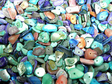35g approx 100 - 120 Mixed Colour Pearlised Shell Chips Beads With Drilled Hole