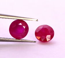 Certified Natural Ruby Round Cut Pair 5.50 mm 2.14 Cts Red Pink Loose Gemstones