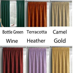 MONTREAL - LUXURY SUPER SOFT VELOUR PENCIL PLEAT LINED CURTAINS - FREE P & P