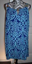Women's Blue Multi Gold Chunky Bead Flowy Casual Dress One Size