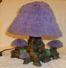 Adams Apple Creations Black-lite Reactive Purple Mushroom Table Lamp Signed JR