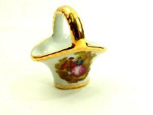 Cute Miniature Limoges France Porcelain Basket