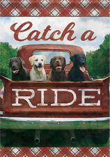 Garden Flag, Labradors, Catch a Ride, Red Truck, Americana, Double Sided