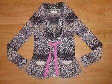 Odd Molly 457 Multi Shawl Neck Tie Front Stranded Knit Cotton Cardigan 0 XS UK 6