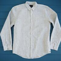 INDUSTRIE Mens Linen Cotton Shirt Size Medium Long Sleeve Button Up Grey NWOT