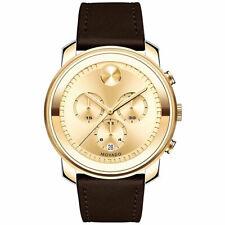 Movado Bold Men's Watch Quartz Chronograph Gold Tone Dial Brown Strap 3600409