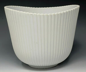 1950s Gustavsberg 'VINDA' Flower Bowl STIG LINDBERG Satin White w/ Vertical Ribs