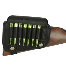TOURBON Leather Shooting Cheek Rest Comb Riser Rifle Ammo Holder Buttstock Cover