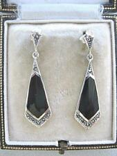 Stylish Silver Deco Inspired Angular Black Onyx & Marcasite Drop Earrings