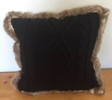 "Throw Pillow Large 18"" Black Cable Knit with Faux Fur Brown Trim Threshold NEW"