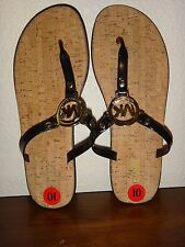 MICHAEL KORS Women's Black Jelly Cork Flat Sandals Flip Flops Gold Logo Size 10