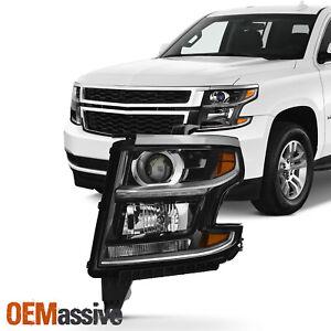 Fit [Halogen Type] 2015-2020 Suburban Tahoe LED Black Headlight Driver Left Side