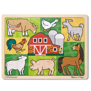 Melissa and & Doug ~ Farm Animals ~ Kids Tray Wooden Puzzle ~ 24pc ~ BN Sealed