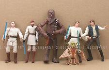 Toy 6Pcs Star Wars Han Solo Yoda Kenobi Obiwan Chewbacca Action Figures S301
