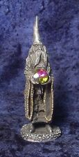Pewter Classic Wizard w/ Large Colorful Crystal - Satin Matte Finish