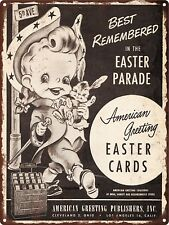 "1949 American Greetings Cards Easter Parade Metal Sign Repro 9x12"" 60482"