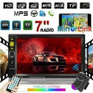 "7"" Doppel Autoradio Stereo Bluetooth USB FM AUX IN 2Din MP3 MP5 Player Lenkrad"