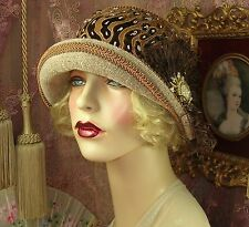 1920'S VINTAGE STYLE LT BROWN VELVET EMBROIDERED FEATHER CLOCHE FLAPPER HAT