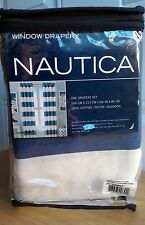 NEW NAUTICA Cabana Blue Navy Stripe Window Curtains Panel 52x84 PAIR