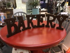 """All Wood Letters-""""BAKERY""""-Dark Walnut Stained-French Country/Cottage/Farmhouse-"""