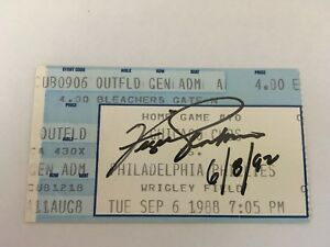 Fergie Jenkins Signed Andre Dawson HR #296 1988 9/6/88 Cubs Phillies Ticket Stub