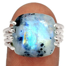 Natural Rainbow Moonstone And Quartz 925 Silver Ring Jewelry s.9 BR84375