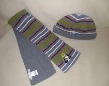 Janie and Jack 12-24 Boy Gray Multi Stripe Panda Bear Winter Snow Hat Scarf Set