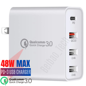Multi USB Port Wall Charger Fast Charging Station QC 3.0 PD USB-C Power Adapter