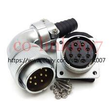 WS32 10pin Power Connector,25A Aviation Bulkhead Plug Socket Earth Wire 90° Plug
