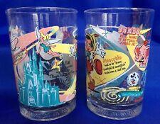 2 Disney World McDonalds Drinking Glass 100th Anniversary Tumblers Magic Kingdom