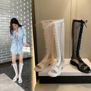 Women's Fashion Leather Mesh Peep Toe Lace Up Knee High Boots Sandal Shoes SKGB