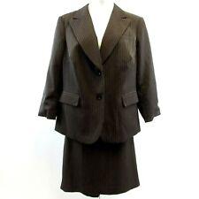 John Meyer Norwich Brown Pinstripe 2 Piece Suit Size 18W Jacket Skirt Career