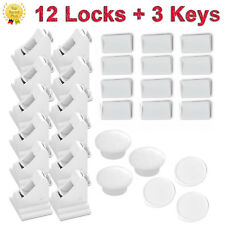 12PCS Magnetic Cabinet Locks Child Proof Cupboards Drawers Invisible Baby Safety