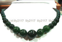 """AAA beautiful 6-14mm natural green emerald round gemstone beads necklace 18"""""""
