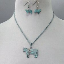 Patina Finished Country Farm Animal OX Cow Cattle Shape Necklace & Earrings Set