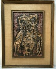 "Karl Zerbe (1903-1972) Wax Encaustic on Paper Titled ""The Owl"" Signed"