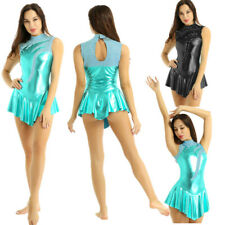 Women Girls Shiny Metallic Skating Ballet Dance Dress Gymnastics Leotard Costume
