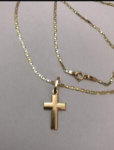 18 Carat Gold Necklace With Plain Cross Pendant