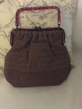 Vintage Lucite handle Purse Fall Colors Nice Fabric Great Shape For Age