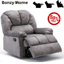 Velvet Recliner Chair Wide Back Seat Overstuffed Padded Sofa Heavy Duty Base