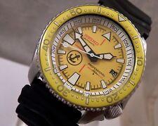 Seiko Cerámica Amarillo Ancla atún automático Scuba Diver's fecha Reloj Personalizado 7002