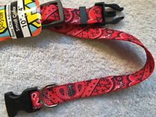 "Red Bandana Adjustable Size Small Dog Collar (10"" - 14"") by Yellow Dog Design"